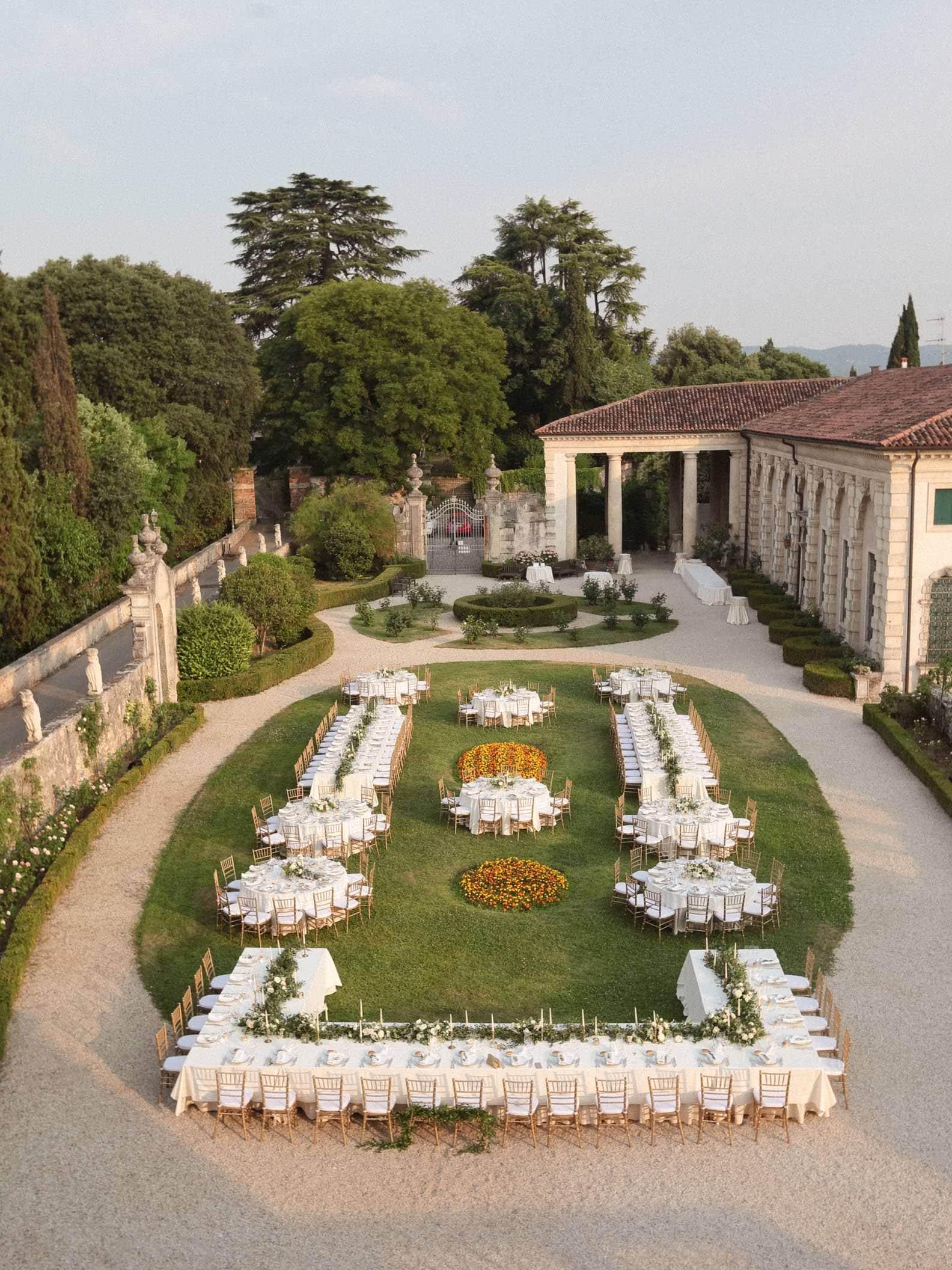 the garden of villa valmarana from above