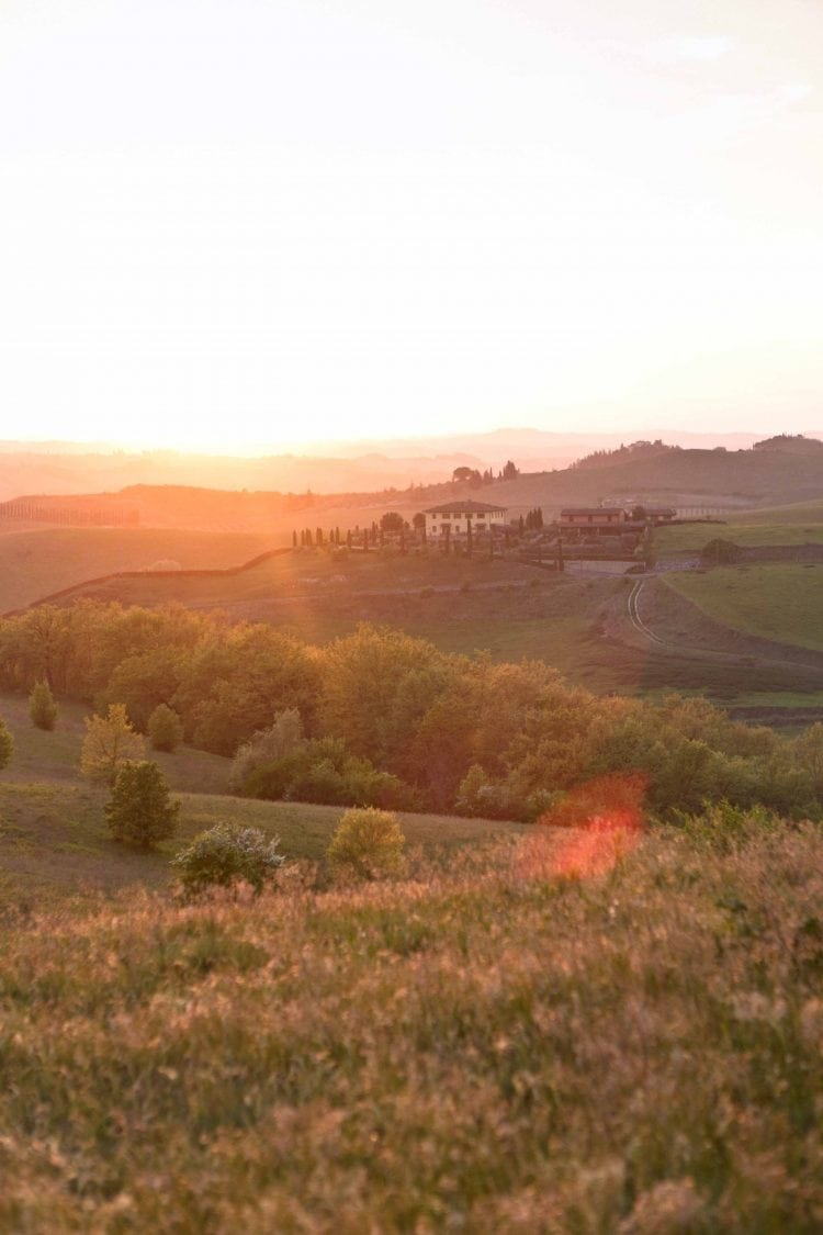 landscape of tuscany at sunset
