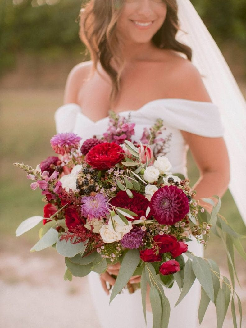 colorful bouquet with burgundy flowers