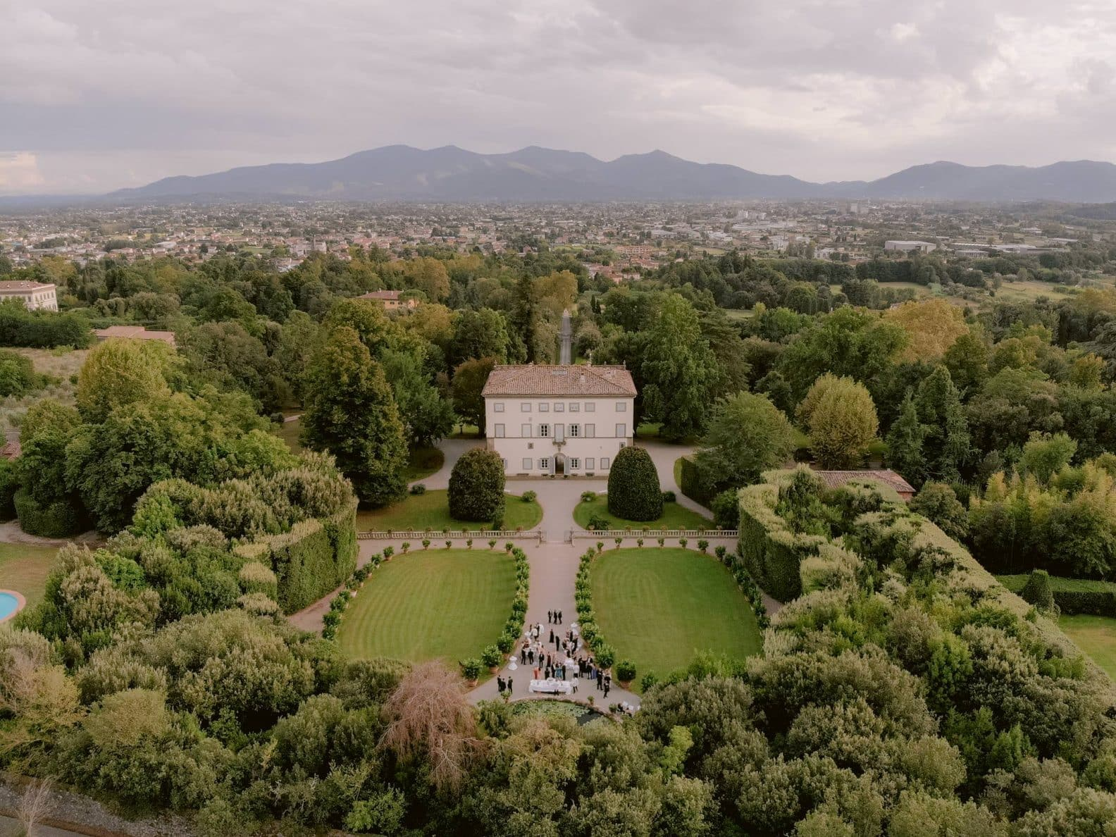 Villa Grabau in Lucca Tuscany from the drone