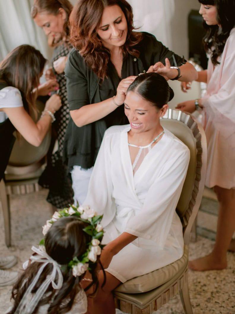bride is getting ready in the Villa La Vedetta Suite