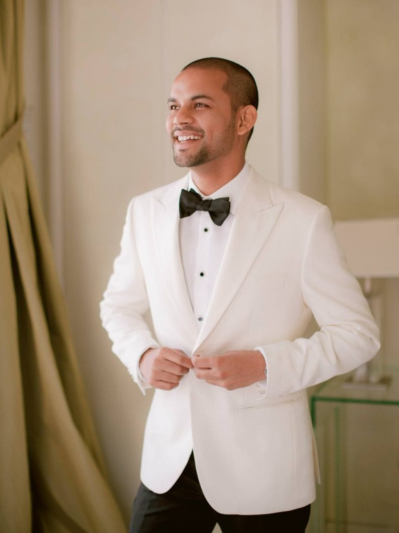 the beautiful groom is getting ready at villa la vedetta in florence italy
