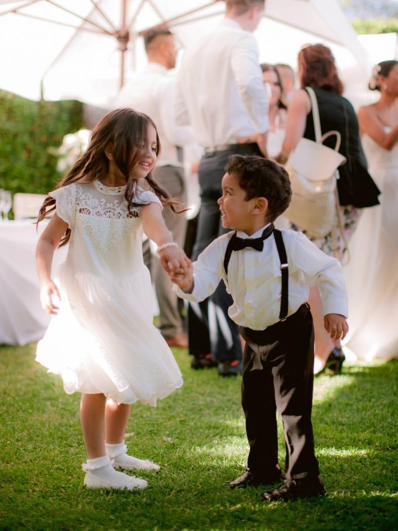 kids having fun during the wedding reception