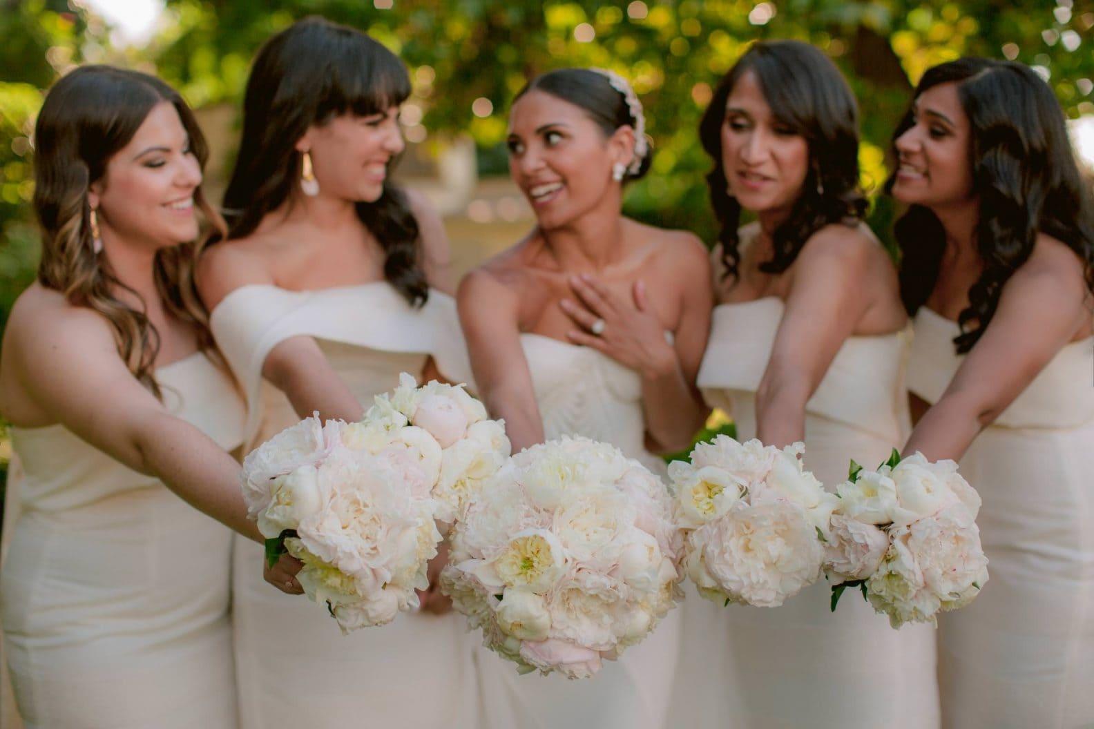 bridesmaids' flower bouquets