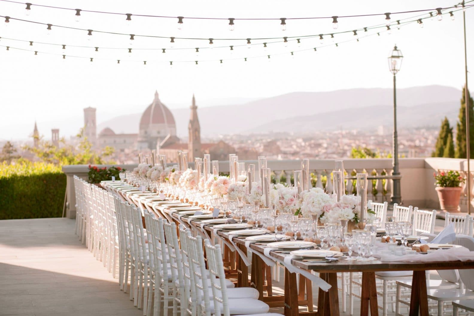 stunning wedding reception setting with Duomo in the background