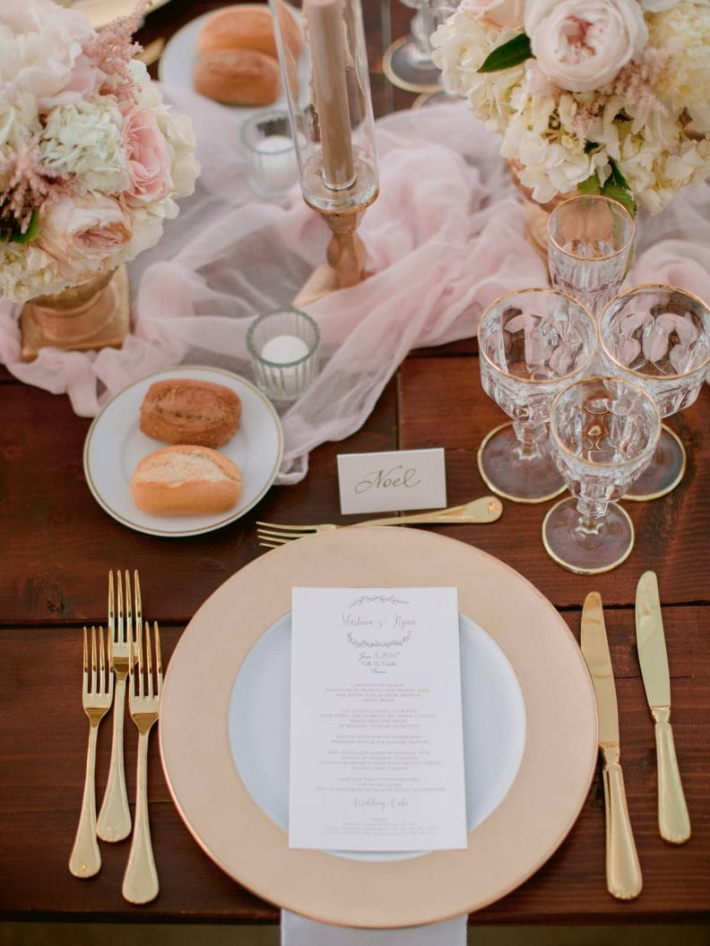 romantic wedding table dinner setting
