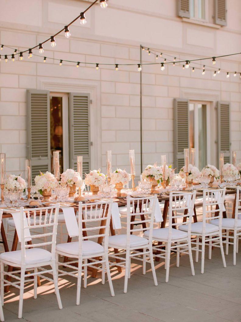 romantic wedding reception setting on the terrace of Villa La Vedetta