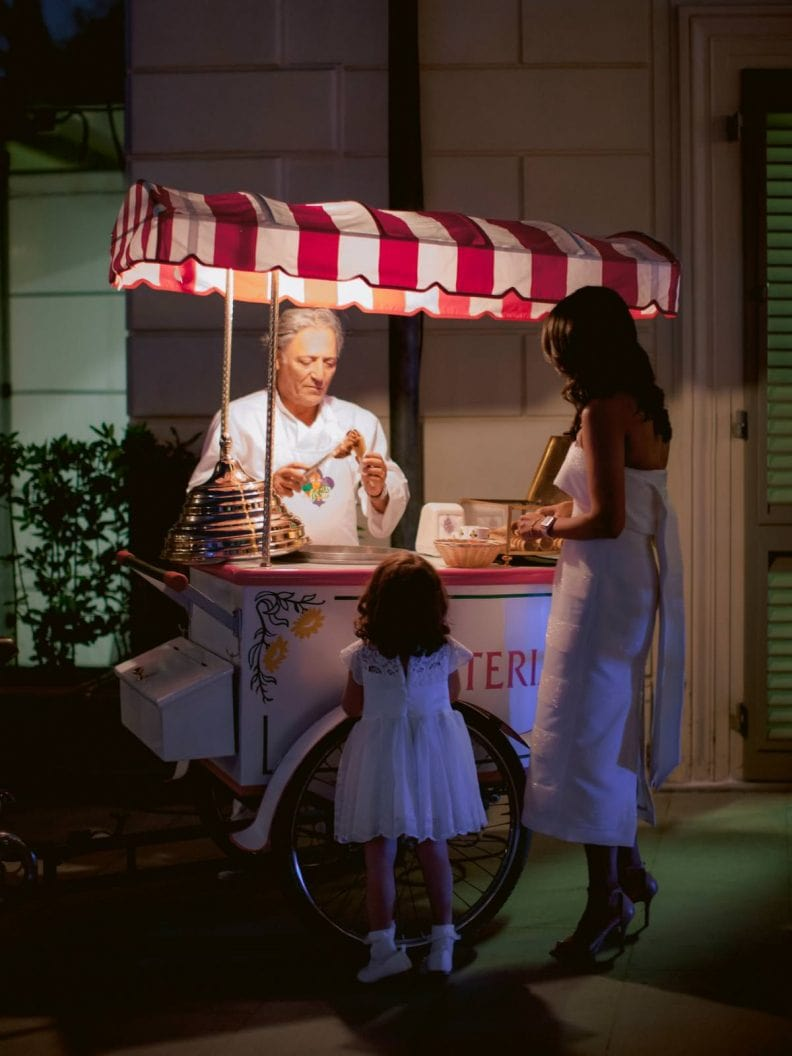 home made gelato during the wedding dinner reception at Villa la Vedetta