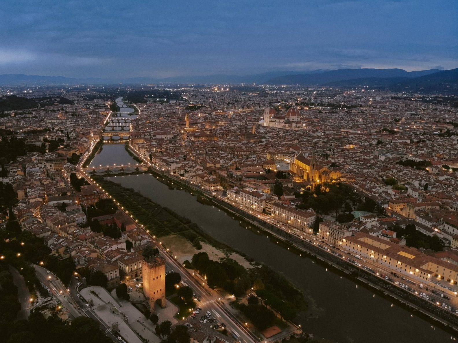 florence from the drone at night