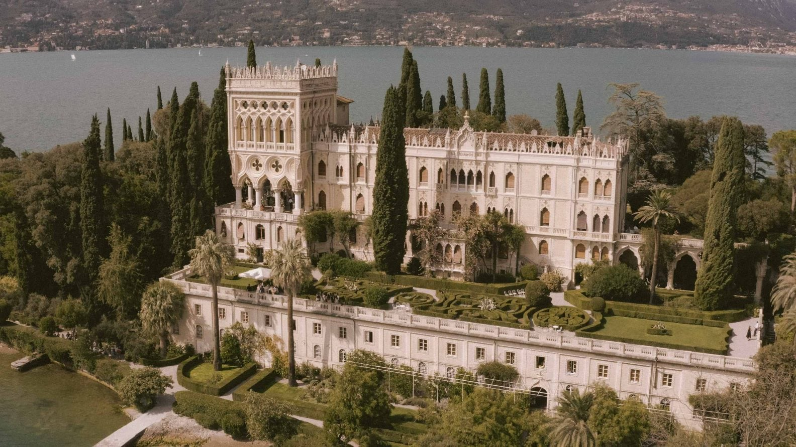 an amazing drone view on Isola del garda