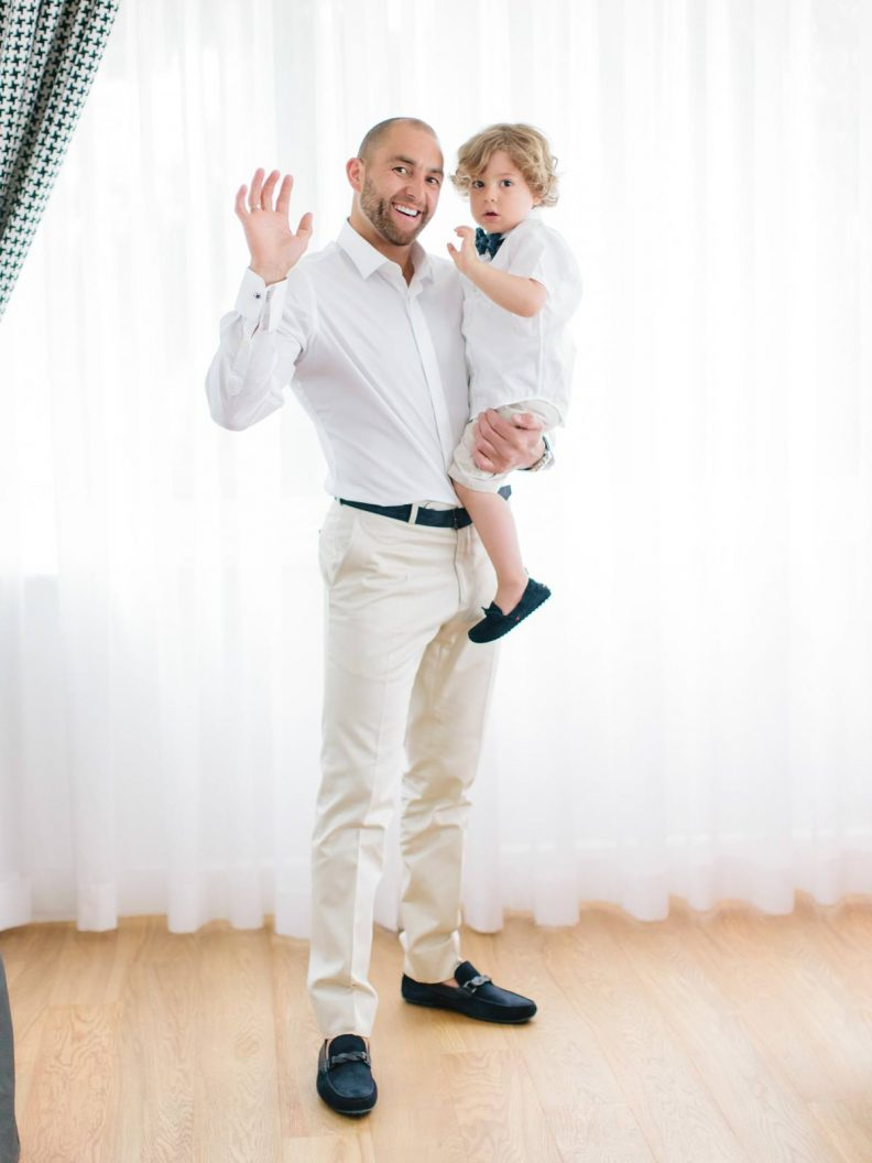 the groom with his little boy