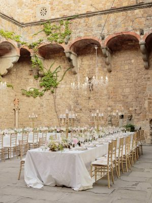 table for the wedding reception in the courtyard