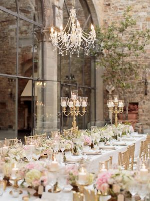 table setting at the castle