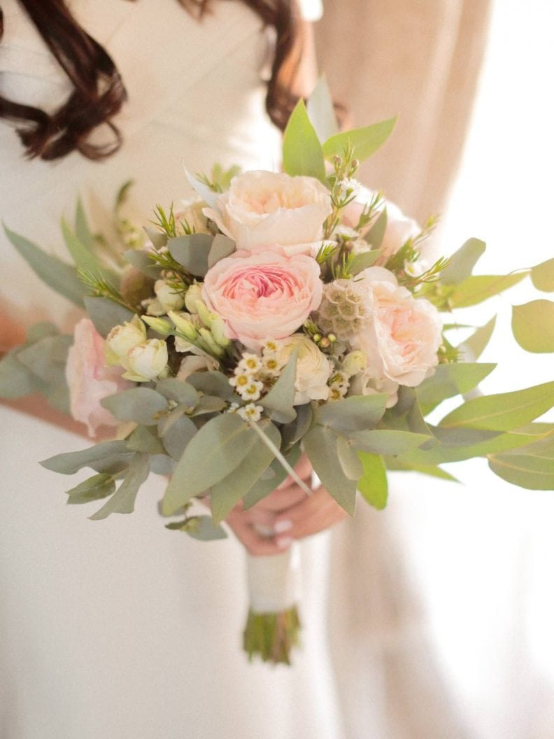 bridal bouque with pink peonies