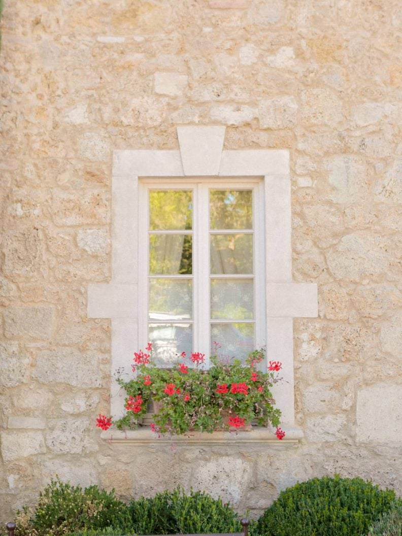 the detail of a window architecture with red flowers