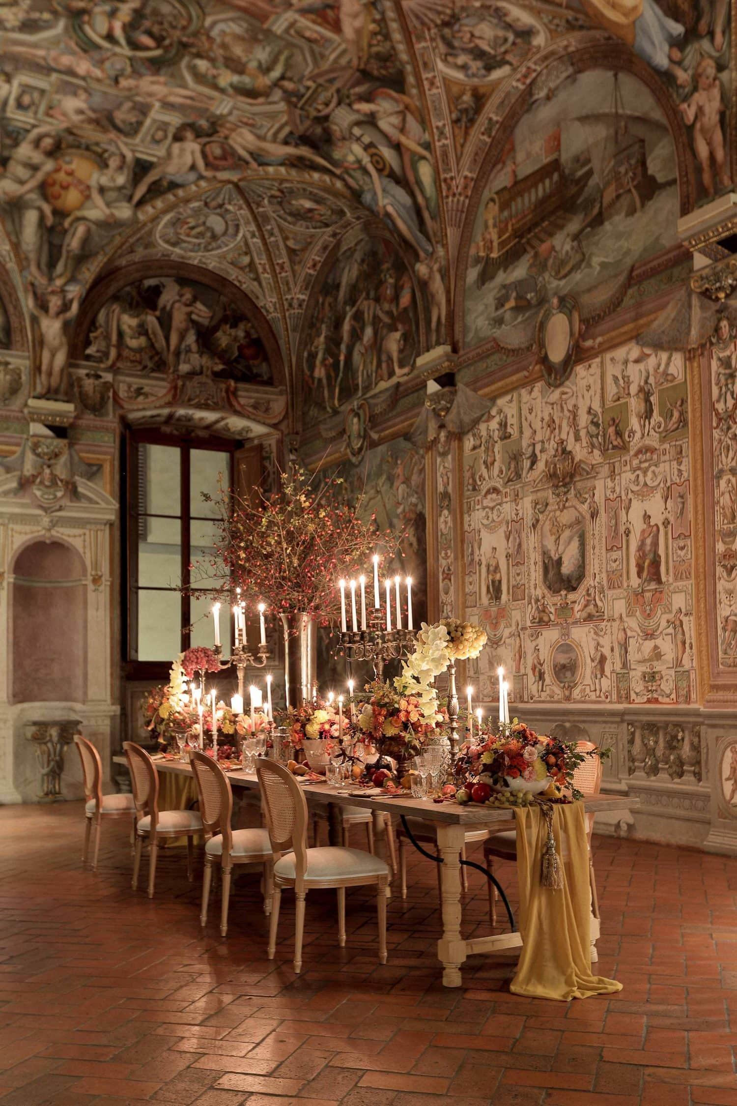 the table decor at palazzo capponi