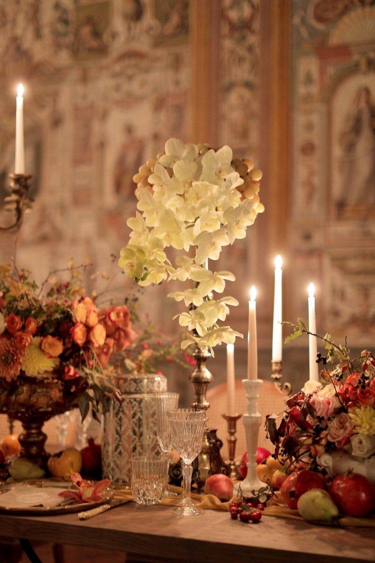 orchid between chandeliers