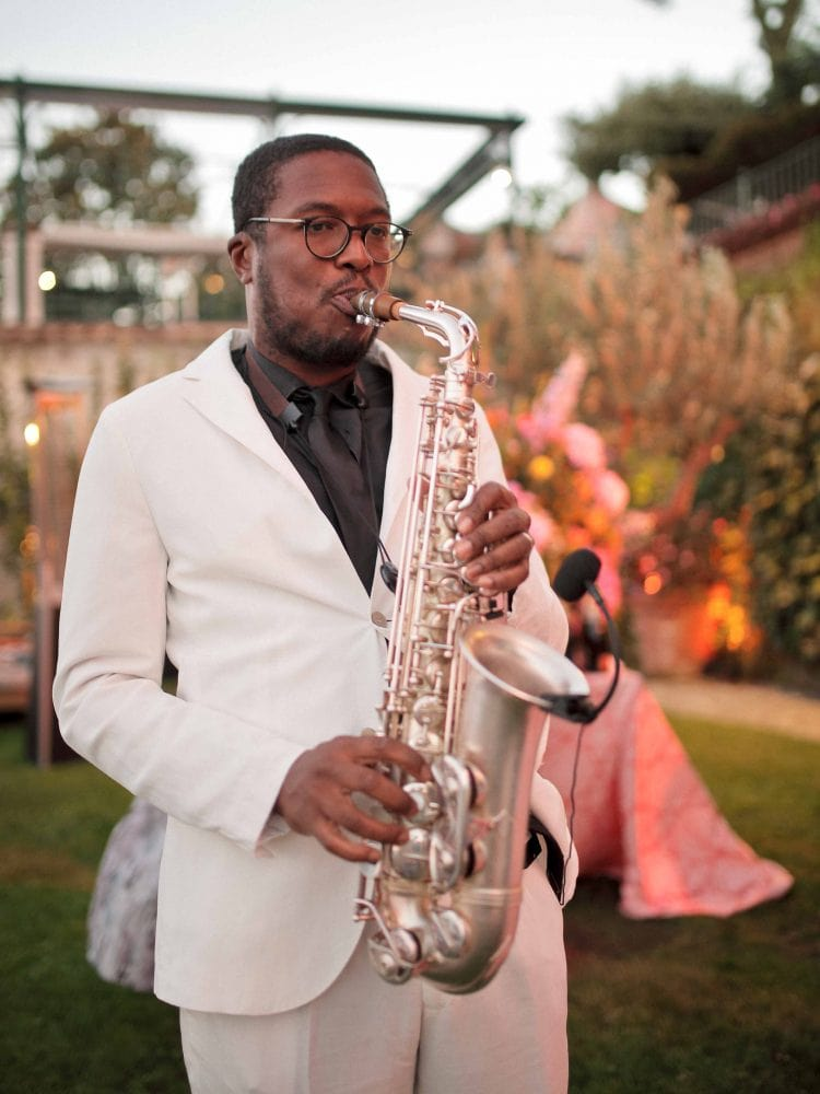 sax player during the cocktail hour