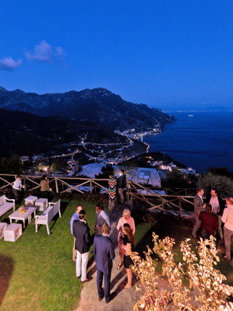 the view from a balcony in palazzo avino at night