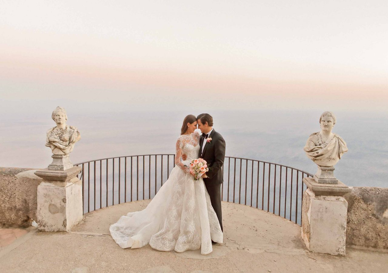 newlyweds by the terrace of infinity
