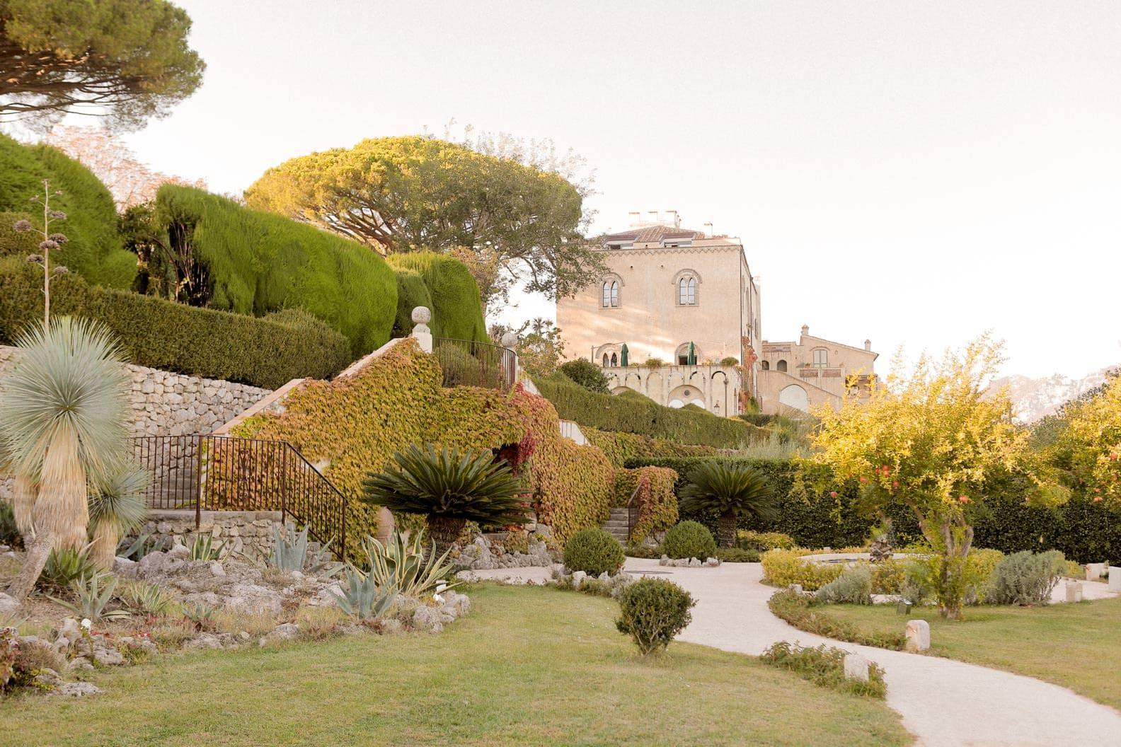 Long shot of villa cimbrone from the garden