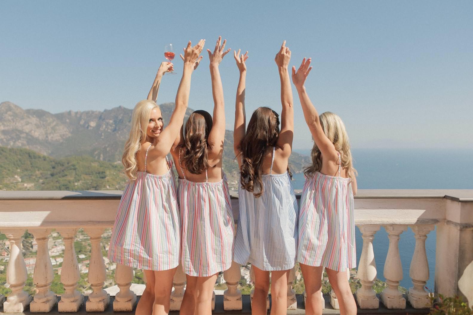 bridesmaids having fun on the terrace