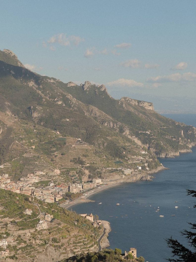 the amalfi coast from far