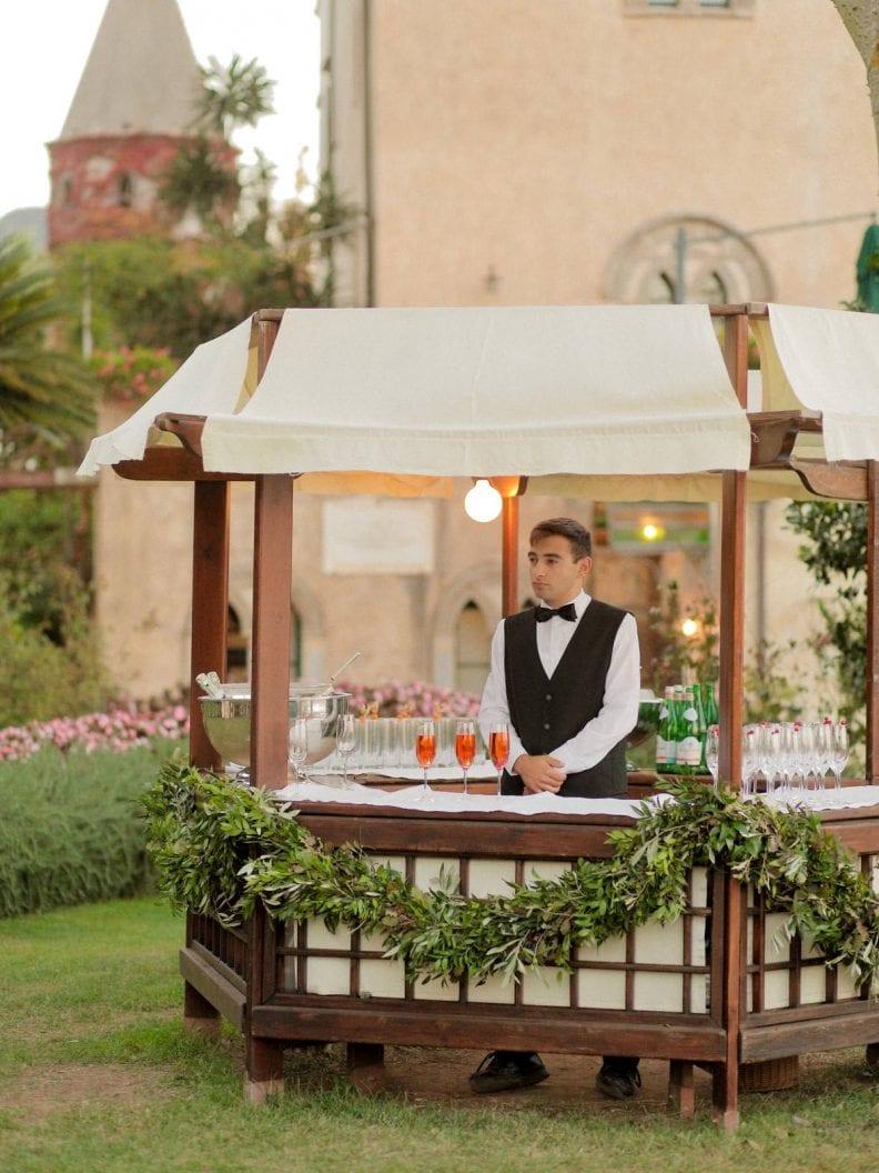 a cocktail bar in the garden