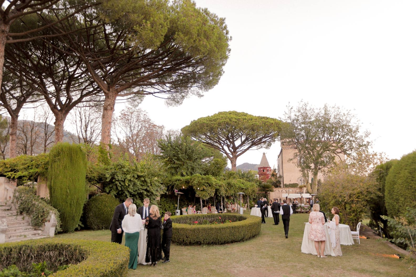 the garden of villa cimbrone during the cocktail hour