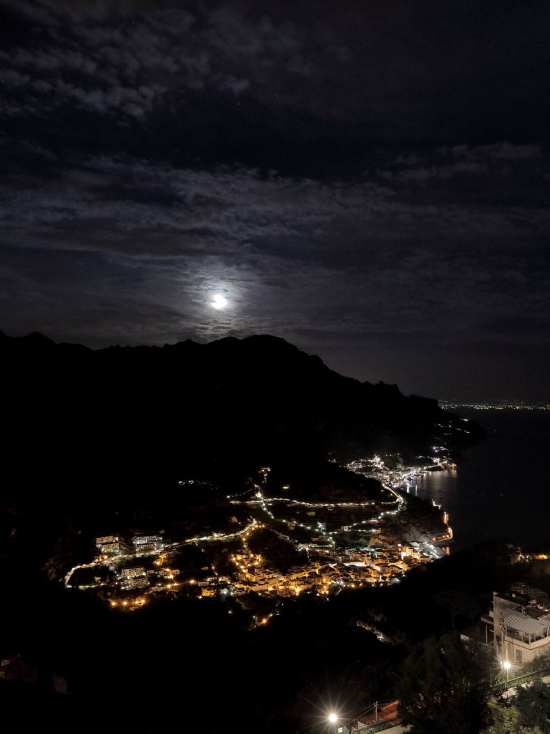 the night view of the amalfi coast from ravello