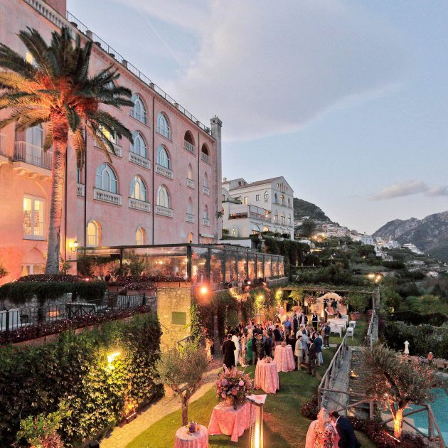 the garden of palazzo avino during the cocktail hour with sara fay egan events