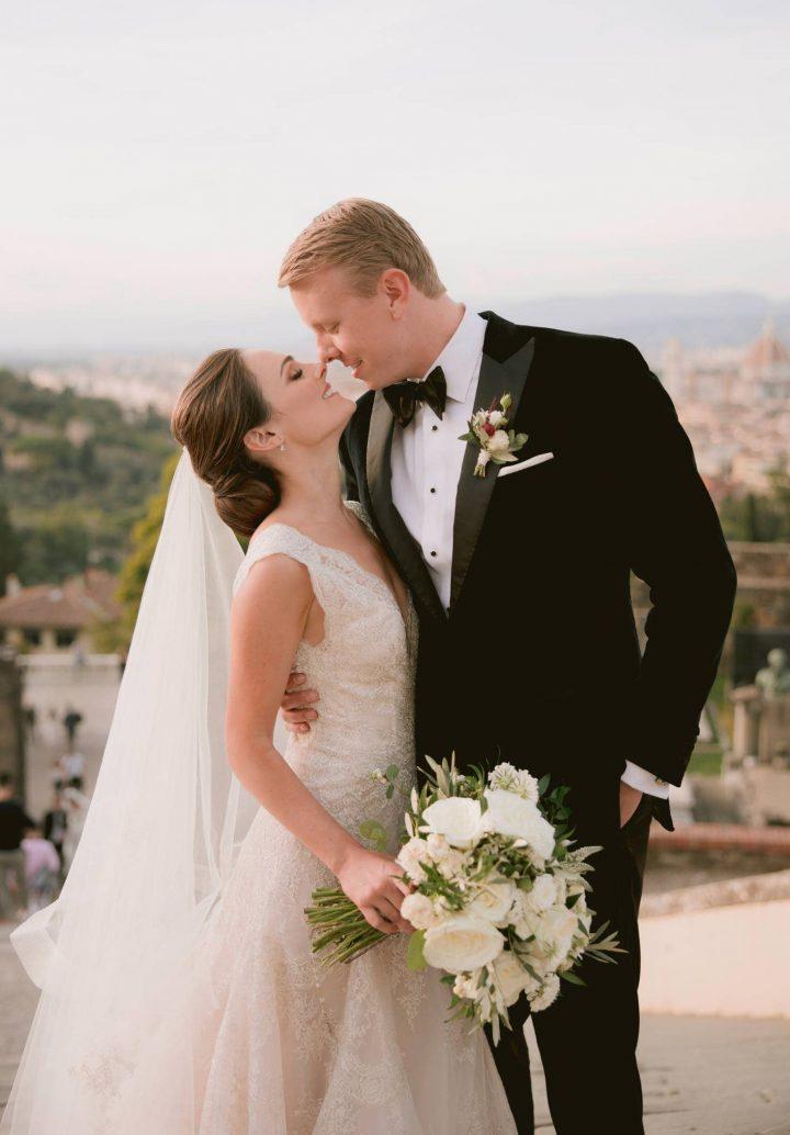 a closeup of the newlyweds