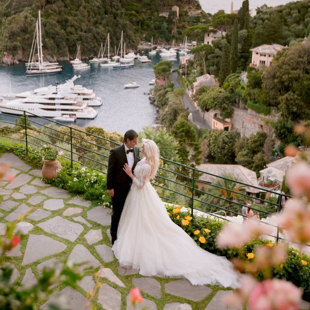 bride and groom during their wedding reception at the luxury belmond Portofino Italy