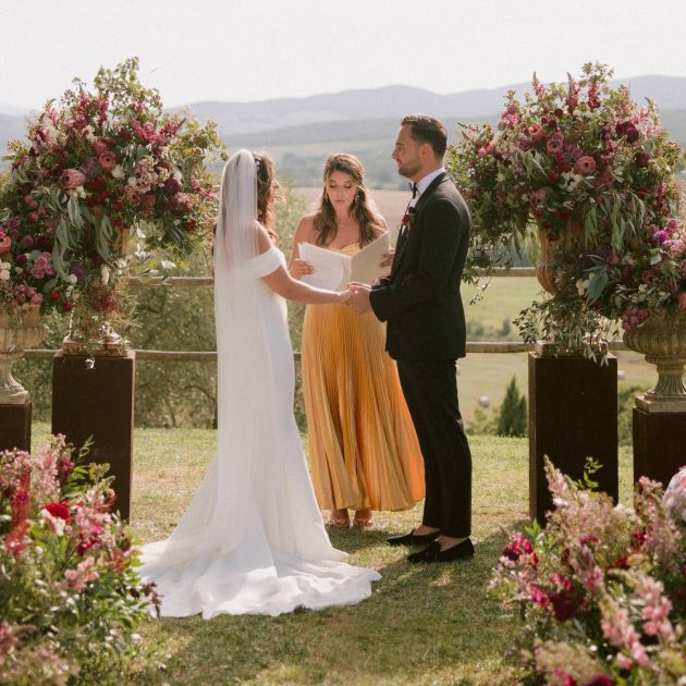 Country Chic Tuscan Romance with Blush and Burgundy Hues