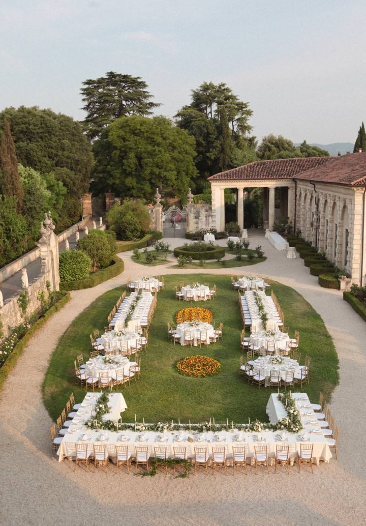 the garden of villa valmarana from above