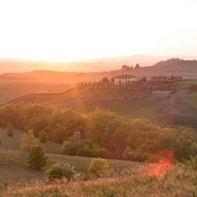 landscape of tuscany at sunset