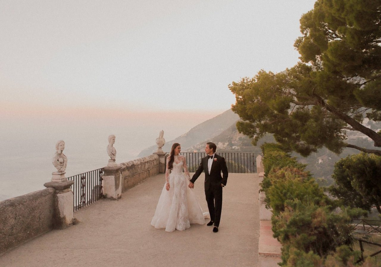 bride and groom by the terrace of infinity
